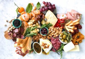 Scarlett Wines cheese and charcuterie board