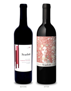 Scarlett Wines before and after label